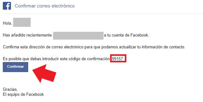 Verifica tu nueva dirección de correo electrónico de facebook