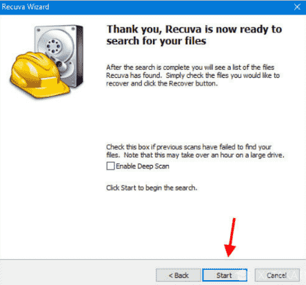 Iniciar recuperación de archivos