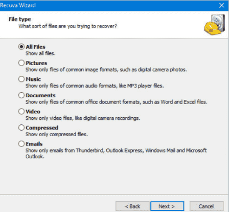 seleccionar tipo de documento